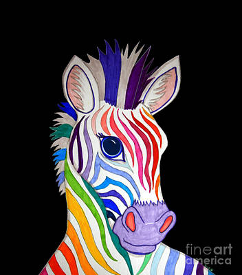 Zebra Drawing - Rainbow Striped Zebra 2 by Nick Gustafson