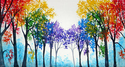 Water Painting - Rainbow Trees by Ann Marie Bone