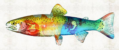 Rainbow Trout Art By Sharon Cummings Print by Sharon Cummings