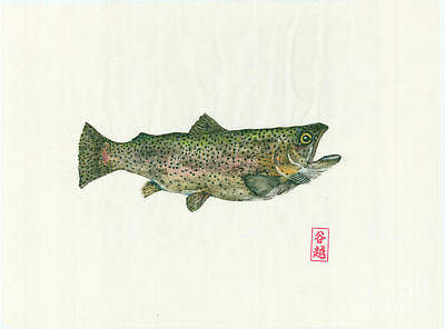 Rainbow Trout Gyotaku Original by Julia Tinker