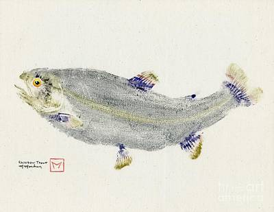 Rainbow Trout Mixed Media - Rainbow Trout On Muslin by Matt Monahan