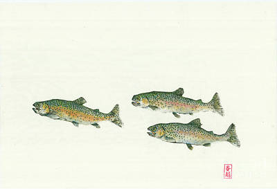 Rainbow Trout Mixed Media - Rainbow Trout School Gyotaku by Julia Tinker