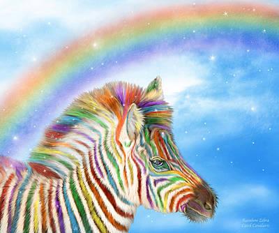 Zebra Mixed Media - Rainbow Zebra by Carol Cavalaris