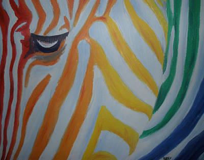Zebra Painting - Rainbow Zebra by Scott Dokey
