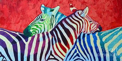 Zebra In Painting - Rainbow Zebras In Love by Ana Maria Edulescu