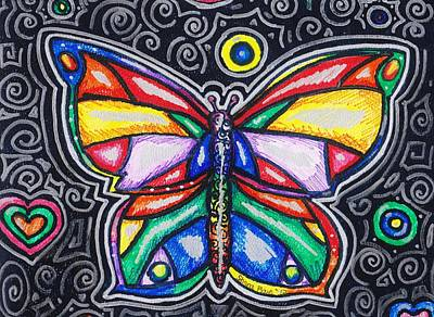 Antennae Drawing - Rainbows And Butterflies by Shana Rowe Jackson