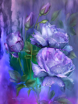 Raindrops On Lavender Roses Print by Carol Cavalaris