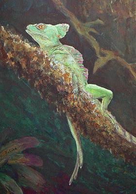 Rainforest Basilisk Print by Margaret Saheed