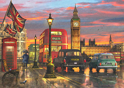 Big Ben Drawing - Raining In Parliament Square Variant 1 by Dominic Davison