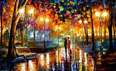 Rain's Rustle - Palette Knife Oil Painting On Canvas By Leonid Afremov Original by Leonid Afremov