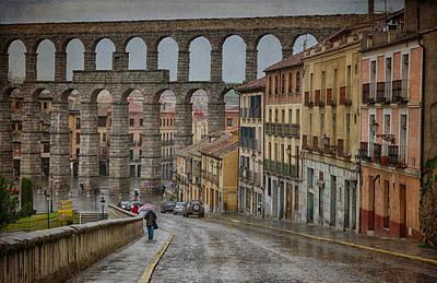 Roman Ruins Photograph - Rainy Afternoon In Segovia by Joan Carroll