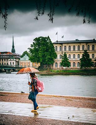 Sweden Digital Art - Rainy Day In Stockholm by Jim DeLillo