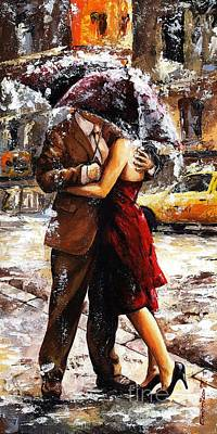 Girlfriend Painting - Rainy Day - Love In The Rain 2 by Emerico Imre Toth