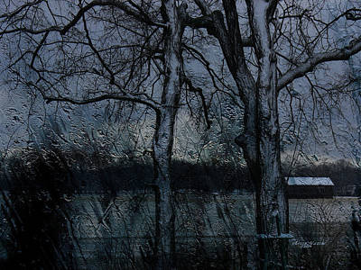 Rainy Days And Mondays- Feature-barns Big And Small-visions Of The Night-photography And Textures Print by EricaMaxine  Price