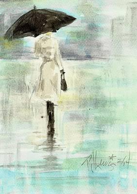 Rainy City Painting - Rainy Monday by P J Lewis