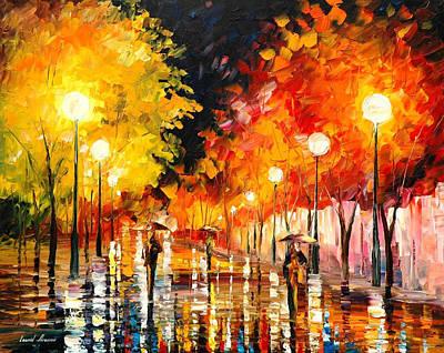 Rainy Night 3 - Palette Knife Oil Painting On Canvas By Leonid Afremov Original by Leonid Afremov