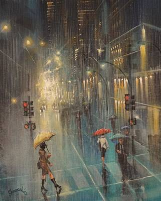 Chicago Reflections Painting - Rainy Night Blues by Tom Shropshire