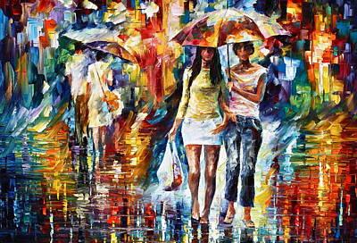 Rainy City Painting - Rainy Shopping by Leonid Afremov
