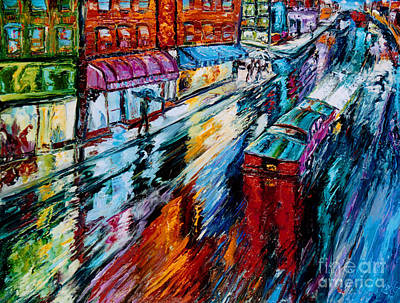 Subways Painting - Rainy Street With Awnings by Arthur Robins