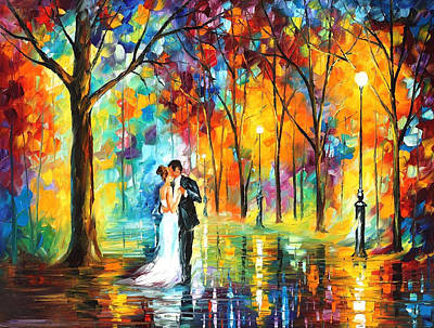 Rainy Wedding - Palette Knife Oil Painting On Canvas By Leonid Afremov Print by Leonid Afremov