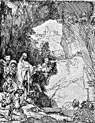 Raising Drawing - Raising Of Lazarus Rembrandt Engraving by