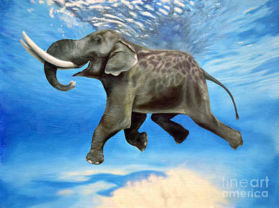 Happy Elephant Painting - Rajan The Swimming Elephant by Tia Harper