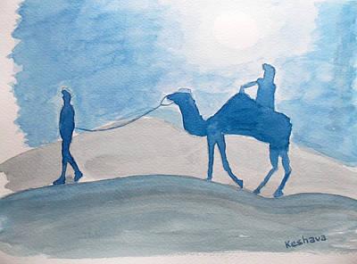 Watercolor Painting - Rajasthani Blues by Keshava Shukla