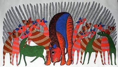Gond Tribal Art Painting - Raju 77 by Rajendra Shyam