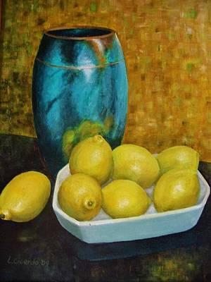Raku Painting - Raku Vase With Lemons by Lou Cicardo