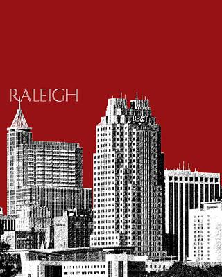 Mid-century Modern Decor Digital Art - Raleigh Skyline - Dark Red by DB Artist