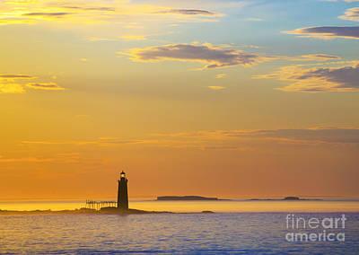 Maine Shore Photograph - Ram Island Lighthouse Casco Bay Maine by Diane Diederich