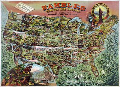 America Painting - Rambles Through Our Country 1890 by WPA poster