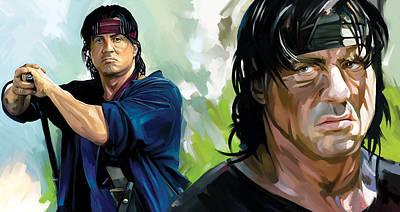 Stallone Mixed Media - Rambo Artwork by Sheraz A