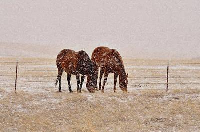 Pasture Scenes Mixed Media - Ranch Horses In Snow by Kae Cheatham