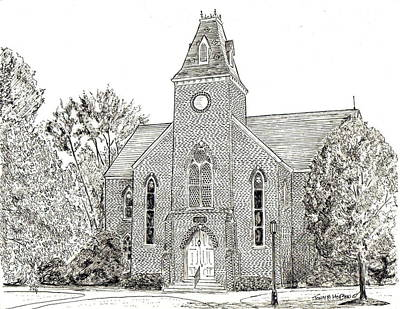 Macon Drawing - Randolph Macon Old Chapel by John Hopson