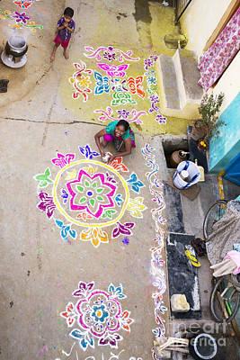 Indian Art Photograph - Rangoli Street by Tim Gainey