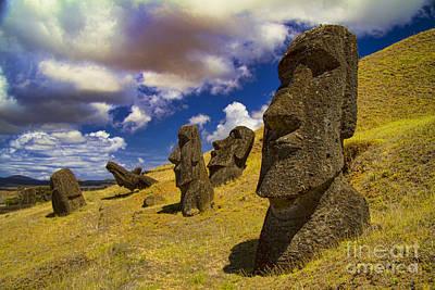 Rano Rarakui Moai Statues On Easter Island Print by David Smith