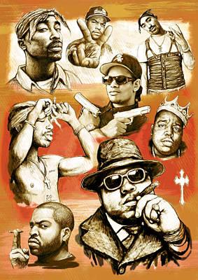Charcoal Mixed Media - Rap Group Drawing Pop Art Sketch Poster by Kim Wang