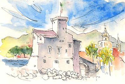 Travel Sketch Drawing - Rapallo In Italy 2011 by Miki De Goodaboom