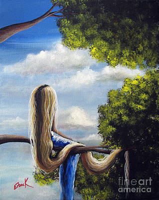 Cloudy Day Painting - Rapunzel Original Artwork From My Acrylic Painting by Shawna Erback