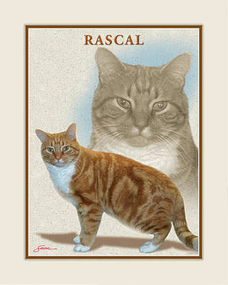Mammals Digital Art - Rascal by Harold Shull