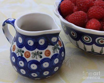 Raspberries With Cream Print by Carol Groenen