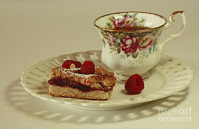 Raspberry Almond Square And Herbal Tea  Print by Inspired Nature Photography Fine Art Photography