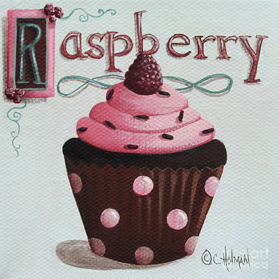 Raspberry Painting - Raspberry Chocolate Cupcake by Catherine Holman