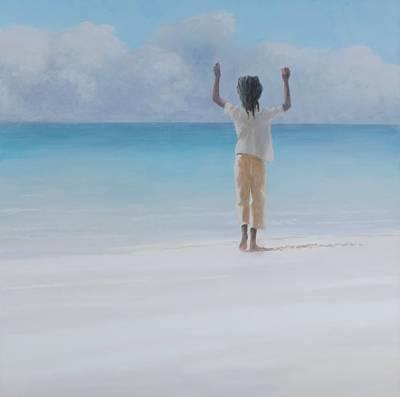 Rasta Photograph - Rasta On Beach, 2012 Acrylic On Canvas by Lincoln Seligman