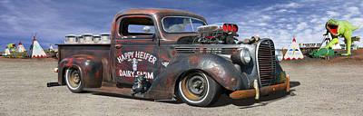 Lowrider Digital Art - Rat Rod On Route 66 3 by Mike McGlothlen