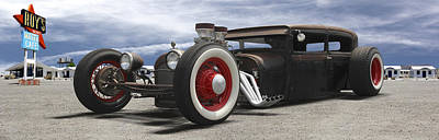 Rat Rod On Route 66 Panoramic Print by Mike McGlothlen