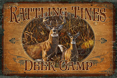 Whitetail Painting - Rattling Tines by JQ Licensing