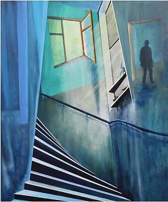 Treppenhaus Painting - Raumirritation 05  by Gertrude Scheffler