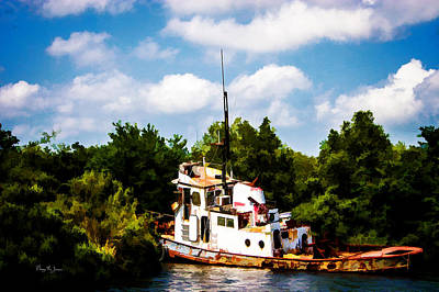 Textured Photograph - Tug Boat - Aground - Rusted - Ravages Of Time by Barry Jones